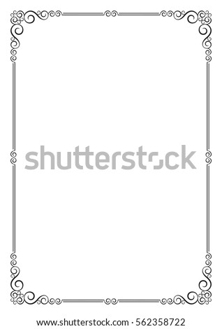 Ornate frame. Template for card, certificate, diploma. A4 page proportions.