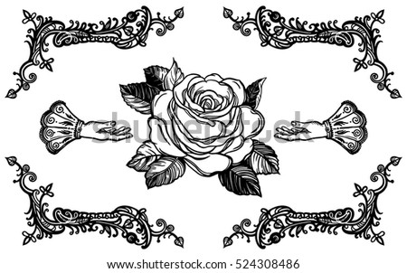 Line Drawing Flower Vector : Free vector rose frame download art stock graphics