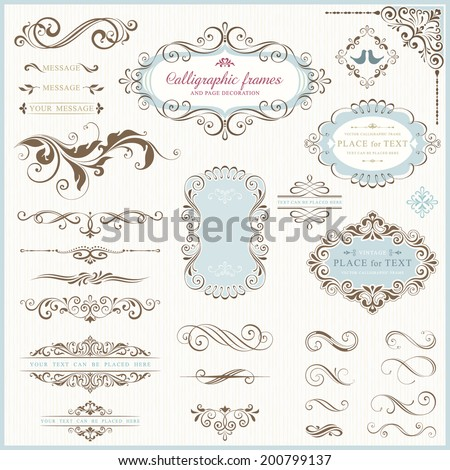Ornate frames and scroll elements for weddings, anniversaries, engagements, save the date announcements, thank you notes or any special occasion.