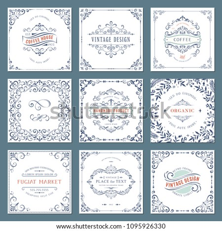 Ornate frames design and scroll elements set. Flourish cards and labels templates. Vector illustration. #1095926330