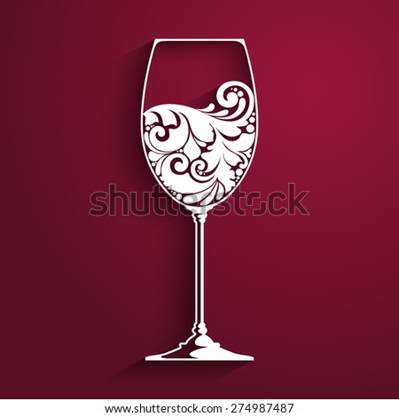 ornate glass of wine vector