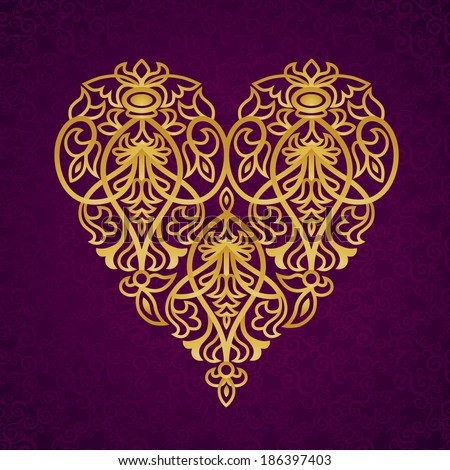 Ornate gold heart on dark purple seamless background. Vector baroque lacy pattern. Element for design. Victorian decor for wedding invitations and greeting cards. Traditional ornament.