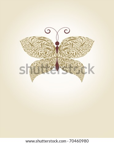 ornate gold vector butterfly