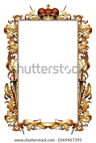 ornate golden frame topped with a crown in medieval style