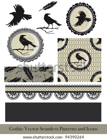 Ornate gothic vector elements for creating fabulous goth or Halloween textiles or craft projects. - stock vector