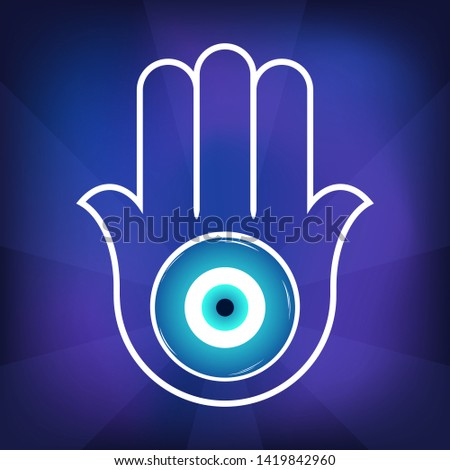 Ornate  Hamsa, amulet against the evil eye and spoilage. Popular Arabic and Jewish amulet. Vector illustration. Mystic, alchemy, occult concept. Astrology, esoteric, religion.