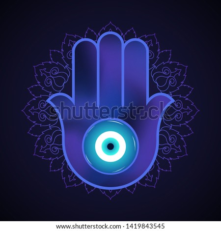 Ornate hamsa, obereg against the evil eye and spoilage. Arabic and Jewish amulet. Vector. Mystic, occult concept. Design for  psychedelic poster, flyer. Astrology, esoteric, religion.