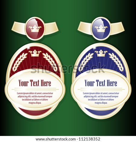 Ornate labels. Red and blue color. Grouped for easy editing. Perfect for labels or stickers for wine, beer, champagne, cognac, cologne and etc. - stock vector