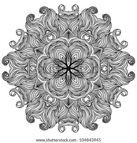 Ornate lace black and white lines  pattern, in circle, vector detailed round background.