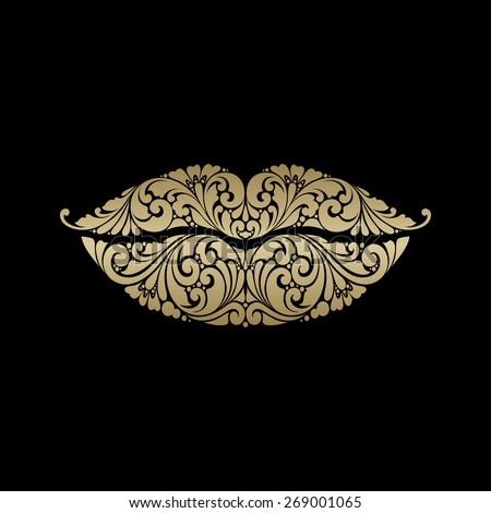 ornate lips icon logo