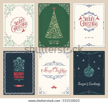 Ornate Merry Christmas greeting cards templates. Vector illustration. #515510023
