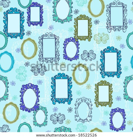 Ornate Mirrors & Picture Frames Seamless Repeat Pattern Vector Illustration