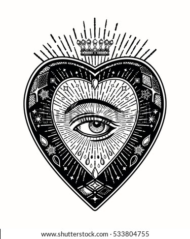 Ornate mystic eye inside the the decorative heart. Vintage alchemy and gothic style inspired art. Vector illustration isolated. Tattoo design, trendy romance symbol for your use.