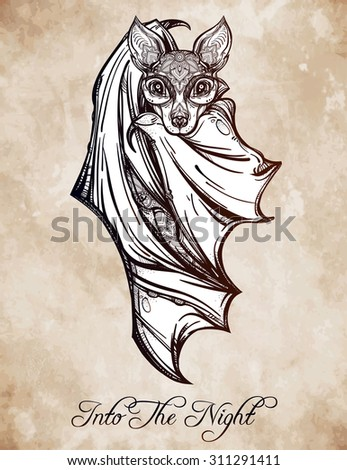 ornate nocturnal bat design