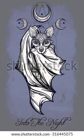 ornate nocturnal bat with moons