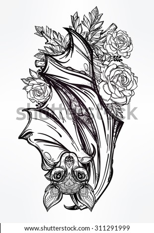 ornate nocturnal bat with roses