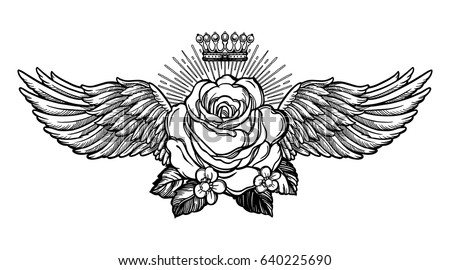 Ornate old fashioned wings and elegant vintage rose flower. Isolated vector illustration. Victorian motif, retro style art, flash tattoo design element.