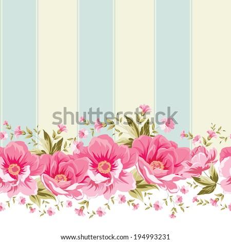 Ornate Pink Flower Border With Tile Elegant Vintage