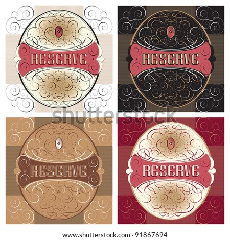 ornate reserve labels set; scalable and editable vector illustration;