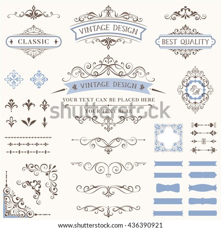Ornate retro labels, flourishes elements, calligraphy swirls, corner ornaments and frames. Use for vintage wedding invitations, royal certificates, greeting cards, menus, covers and posters.