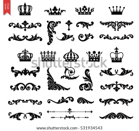 Ornate scroll and decorative design elements with crowns. Vintage Vignette Borders Set. Calligraphic Vector illustration isolated.