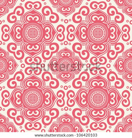 ornate seamless pattern, decorative vector wallpaper