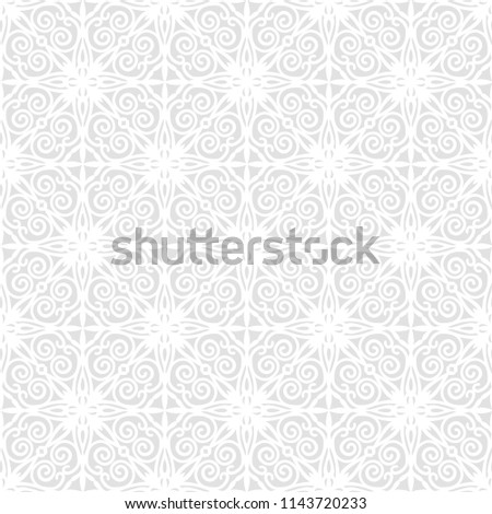 Ornate seamless pattern for wrapping paper. Beautiful White texture on gray background