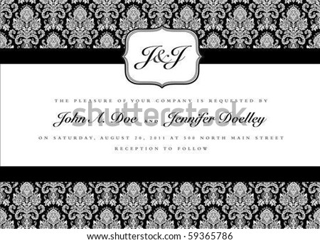 Ornate small frame with sample text Perfect as invitation or announcement Background pattern is included as seamless swatch All pieces are separate Easy to change colors and edit
