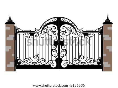 Ornate smart forged iron  gate-accurate drawing sketch of editable modules