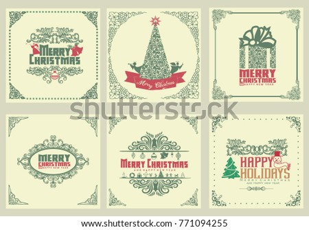 ornate square winter holidays greeting cards with christmas ornament swirl frame and typographic design. vector illustration #771094255