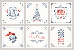 Ornate square winter holidays greeting cards with New Year tree, gift box, Christmas ornaments, swirl frames and typographic design. Vector illustration.