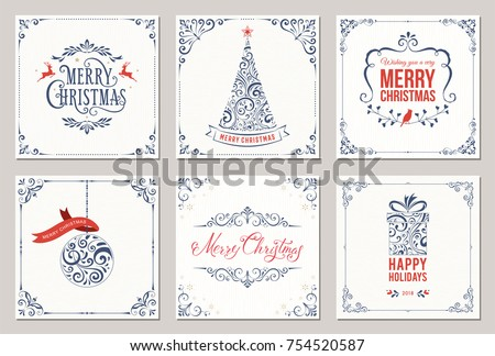 Ornate square winter holidays greeting cards with New Year tree, gift box, Christmas ornaments, swirl frames and typographic design. Vector illustration. #754520587