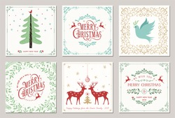 Ornate square winter holidays greeting cards with New Year tree, reindeers, Christmas Dove, typographic design, floral and swirl frames. Vector illustration.