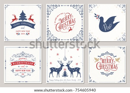 Ornate square winter holidays greeting cards with New Year tree, reindeers, Christmas ornaments, Peace Doves, swirl frames and typographic design. Vector illustration.