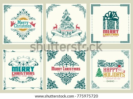 Ornate square winter holidays greeting cards with newyear tree gift bo, christmas ornaments swirl frames and typographic design. vintage vector illustration #775975720