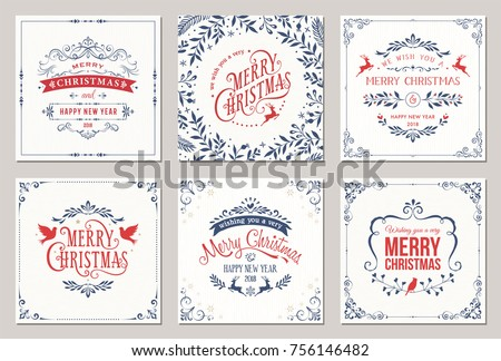 Merry christmas logo download free vector art stock graphics images ornate square winter holidays greeting cards with typographic design reindeers christmas doves floral m4hsunfo