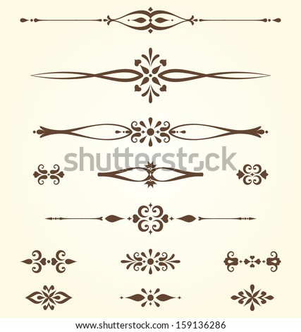 Ornate swirl dividers and arabesques Elements can be ungrouped for editing