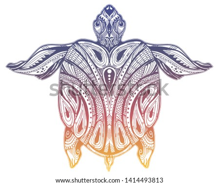 995317b5db631 Maori tortoise reptile · Ornate tribal sea turtle in indigenous Polynesian  style. Isolated vector illustration.