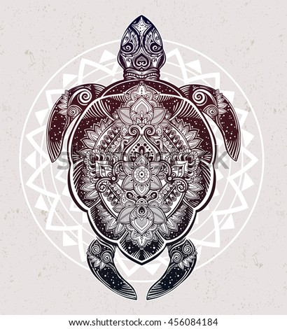 ornate turtle in tattoo style
