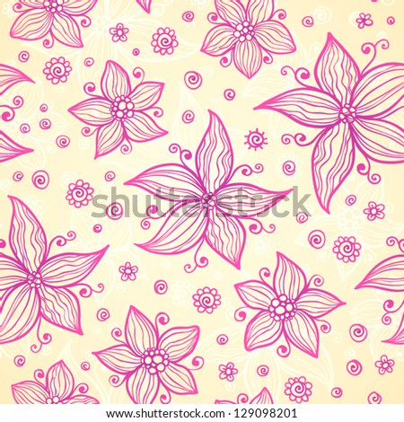 Ornate vector doodle pink flowers background