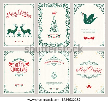 Ornate vertical winter holidays greeting cards with New Year tree, reindeers, Christmas Dove, typographic design, floral and swirl frames. Vector illustration. #1234532389