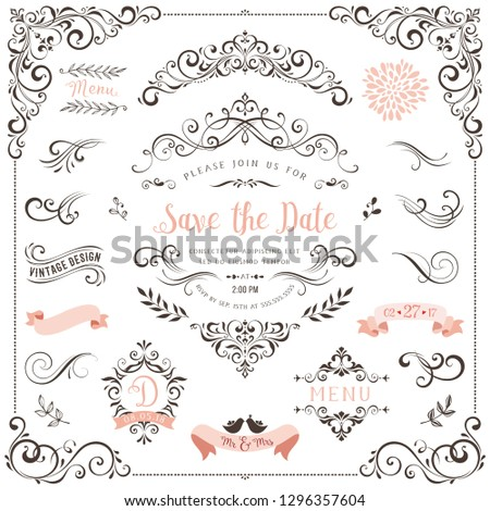 Ornate vintage design elements with calligraphy swirls, swashes, ornate motifs and scrolls.  Good for Save the Date cards, Wedding invitations and Thank You cards.