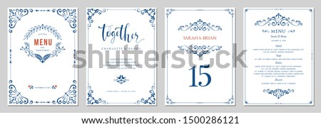 Ornate wedding invitation, menu, table number. Classic vintage design. Vector illustration