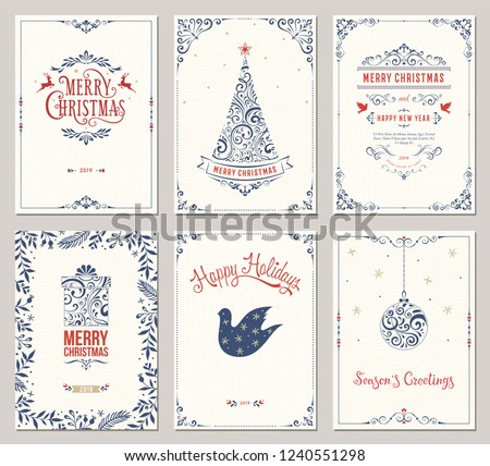 Ornate winter holidays greeting cards with New Year tree, gift box, Christmas ornaments, swirl frames and typographic design. Vector illustration. #1240551298
