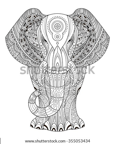 Ornated Elephant Vector illustration in Zentangle style. Hand drawn design elements.