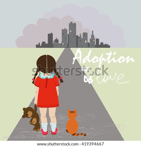 orphan girl with teddy bear on