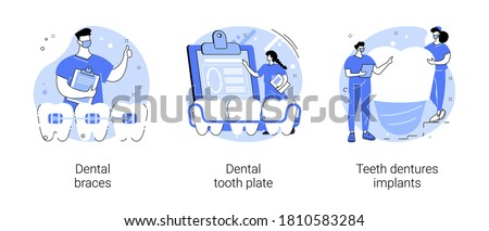 Orthodontic care procedure abstract concept vector illustration set. Dental braces and tooth plate, teeth dentures implants, kids brackets, teeth replacement, cosmetic dentistry abstract metaphor.