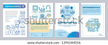 Orthodontics brochure template layout. Cosmetic dentistry. Flyer, booklet, leaflet print design with linear illustrations. Vector page layouts for magazines, annual reports, advertising posters