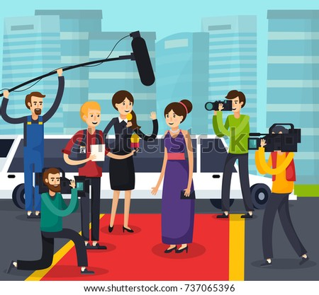 Orthogonal composition with reporters, cameramen and photographers near celebrity on red carpet on city background vector illustration
