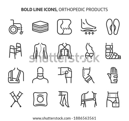 Orthopedic products, bold line icons. The illustrations are a vector, editable stroke, 48x48 pixel perfect files. Crafted with precision and eye for quality.